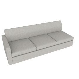 Bevel Settee/ Right Arm, Noble Fabric Heathered Grey with Ebony Leg