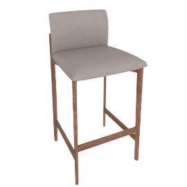 Contour Barstool, Kalahari Leather Grey with Walnut Leg