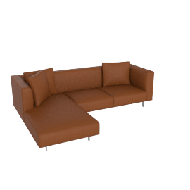 Bilsby Sectional with Left Chaise, Kalahari Leather Canyon