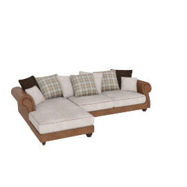 Wendy Corner Sofa Left, Beige and Caramel