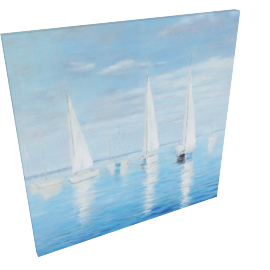 Three Yachts Hanmade Oil Painting 100X3.5X100 Cm-Multicolor