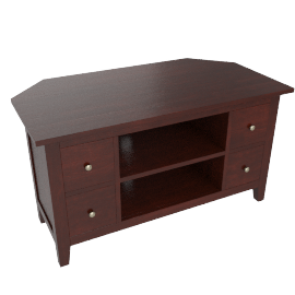 Grove Corner Television Stand,  Dark Stained Oak