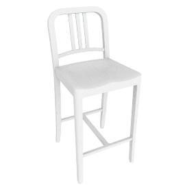111 Navy Counter Stool, White