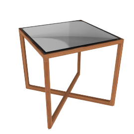 Krusin Side Table with Glass Tabletop - Walnut.Glass