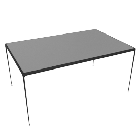 1966 Collection Porcelain Dining Table, 60'', Onyx