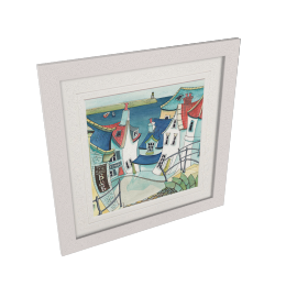 Catherine Stephenson- Coastal Town 1 Framed Print, 65 x 65cm