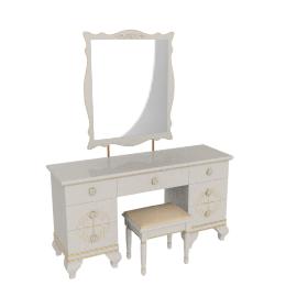 Rosita Dresser W/Mirr+Stool, HG Champagne/Gold