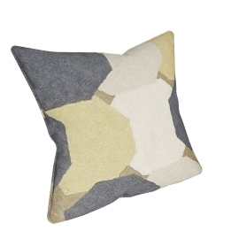 Formation Crewel Cushion, Straw Yellow