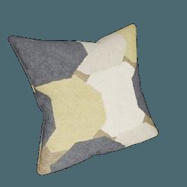 Formation Crewel Cushion, Straw Yellow
