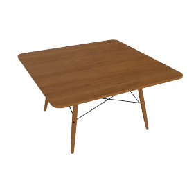 Eames Square Coffee Table, Walnut Top, Walnut Dowel, Black Wire