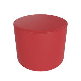 Gemini Round Pouffe, Cranberry