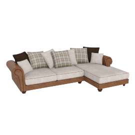 Wendy Corner Sofa Right, Beige and Caramel