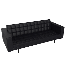 Fielding 3 Seater Sofa, Black Premium Leather