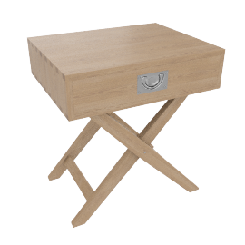 Lomond Campaign Bedside Table, Ash