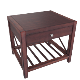 Asher End Table, Dark Brown