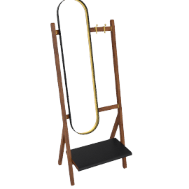 Ren - Standing mirror with Hangers, Carbone