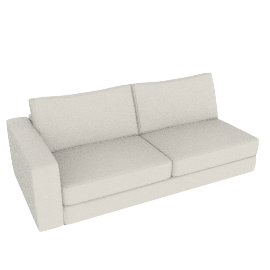 Reid One-Arm Sofa, Left in Leather, Powder