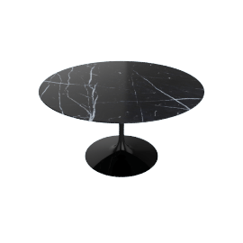 Saarinen Round Dining Table 54'', Coated Marble 1 - Black.Nero