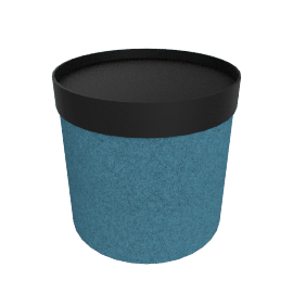 Drum Pouf, High - Teal with Black Tray Top