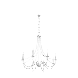 Abigail Chandelier, Chrome / Clear Glass, 7 Arm