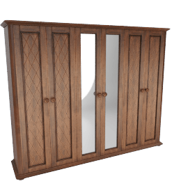 Jade 6-Door Wardrobe with Full Length Mirrors