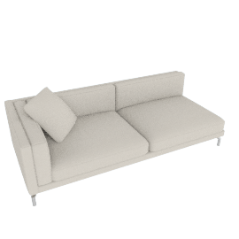 Como One-Arm Sofa in Leather, Left, Gesso