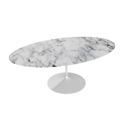 Saarinen Oval Dining Table 78'', Coated Marble 1 - Wht.Arabescato
