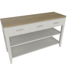 Merlot 2-Shelf Console Table with 3 Drawers