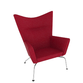 Wing Chair - Divina Melange - Red