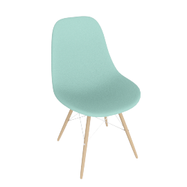 Eames Molded Plastic Dowel-Leg Side Chair (DSW), Aqua Sky with Chrome Base and Maple Leg