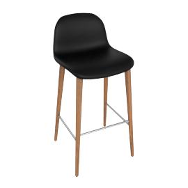 Bacco Barstool, Nero Leather w Walnut Leg