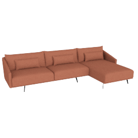 Costura Sectional with Chaise, Coral, Boucle