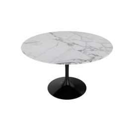 Saarinen Round Dining Table 47'', Polished Coated Marble - Arabescato, Black Base