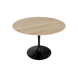 Saarinen Round Dining Table 42'', Veneer - Black.LtOak