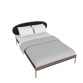 Asare King Size Bed, Copper/Midnight Grey Velvet