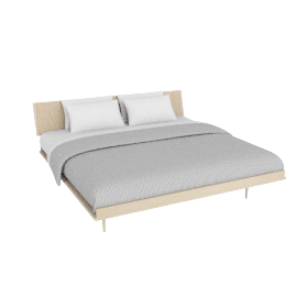 Nelson Thin Edge King Bed with Cane Headboard, Tapered Legs, Ash