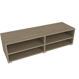 Match Low Wide Shelf Unit, Grey Ash