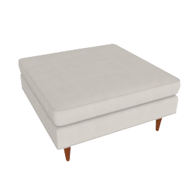 Bantam Cocktail Ottoman in Basket Fabric - Ivory.Walnut