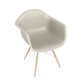 Eames Molded Fiberglass Dowel-Leg Armchair (DFAW), Parchment with Chrome Base and Maple Leg