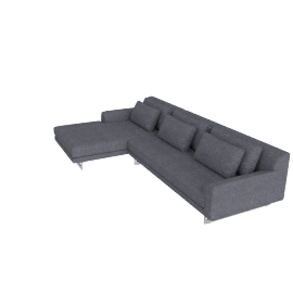Lecco Sectional with Chaise, Pebble Weave - Pumice with Aluminum Base