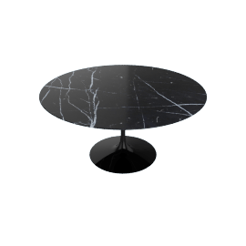 Saarinen Round Dining Table 60'', Coated Marble 1 - Black.Nero