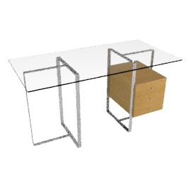 Staten Small Glass Desk with Steel Trestles and Drawer Pack