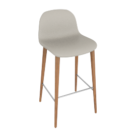Bacco Barstool, Grey Leather w Walnut Leg