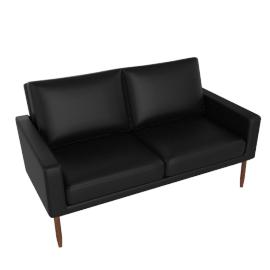Raleigh Two-Seater Sofa, Walnut Frame, Black Kalahari Leather