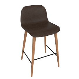 Bacco Counter Stool in Leather, Walnut Legs