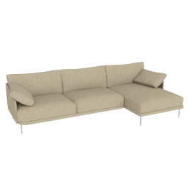 Camber Full Sectional Stainless Legs Right, Lama Tweed Oatmeal