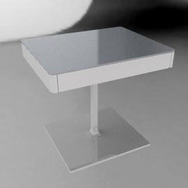 Min Bedside Table with Pedestal Base - Aluminum