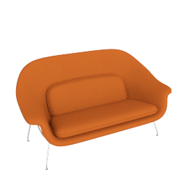 Womb Settee, Cato Orange with Chrome Leg
