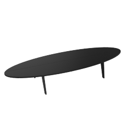 Bolinas Surfboard Coffee Table, Black