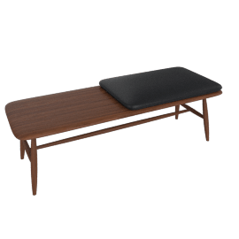 Von Bench with Leather Seat Pad, Walnut / Black